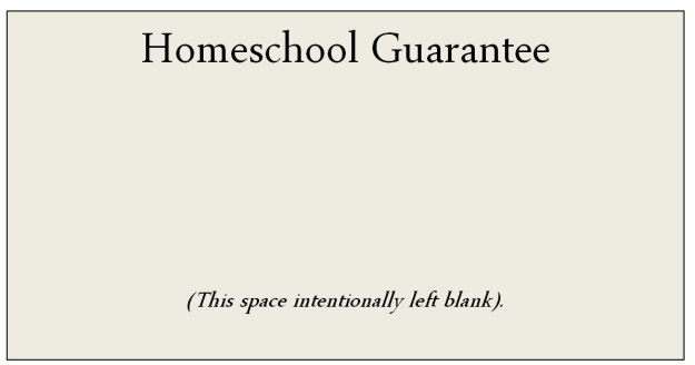 Homeschool Guarantee, copyright 2014